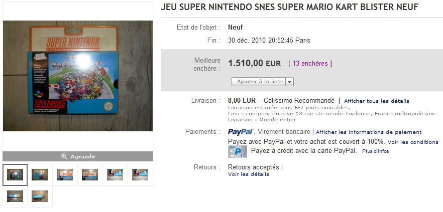 Super Mario Kart sous blister rigide en vente sur ebay 2