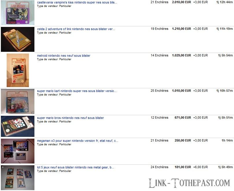 Soi-disant ventes ebay : jeux sous blister rigide