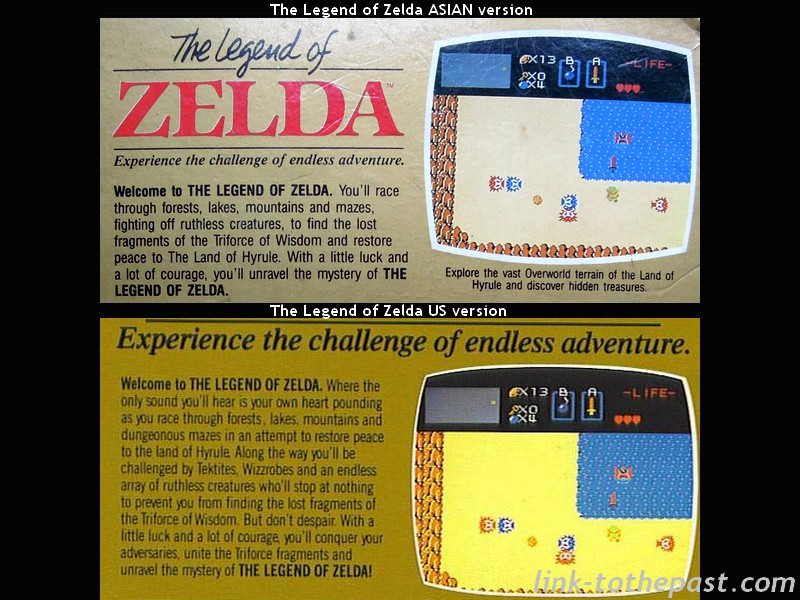zelda nes asian versus us