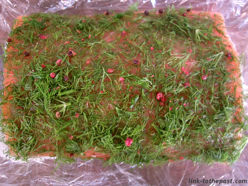 saumon gravlax aux baies roses
