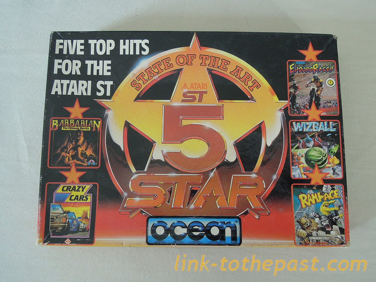 FIVE TOP HITS FOR ATARI ST : Barbarian, WizBall, Rampage, Crazy Cars, Enduro Racer